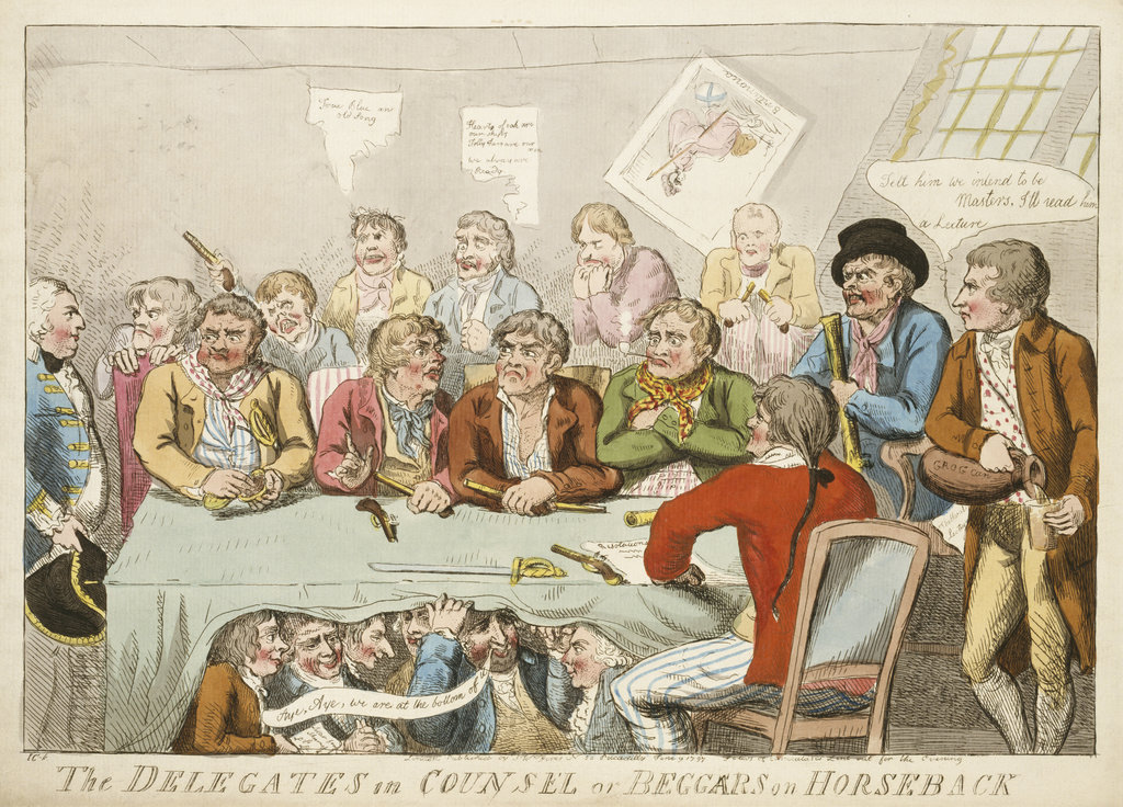 Detail of The delegates in council or beggars on horseback by Isaac Cruikshank
