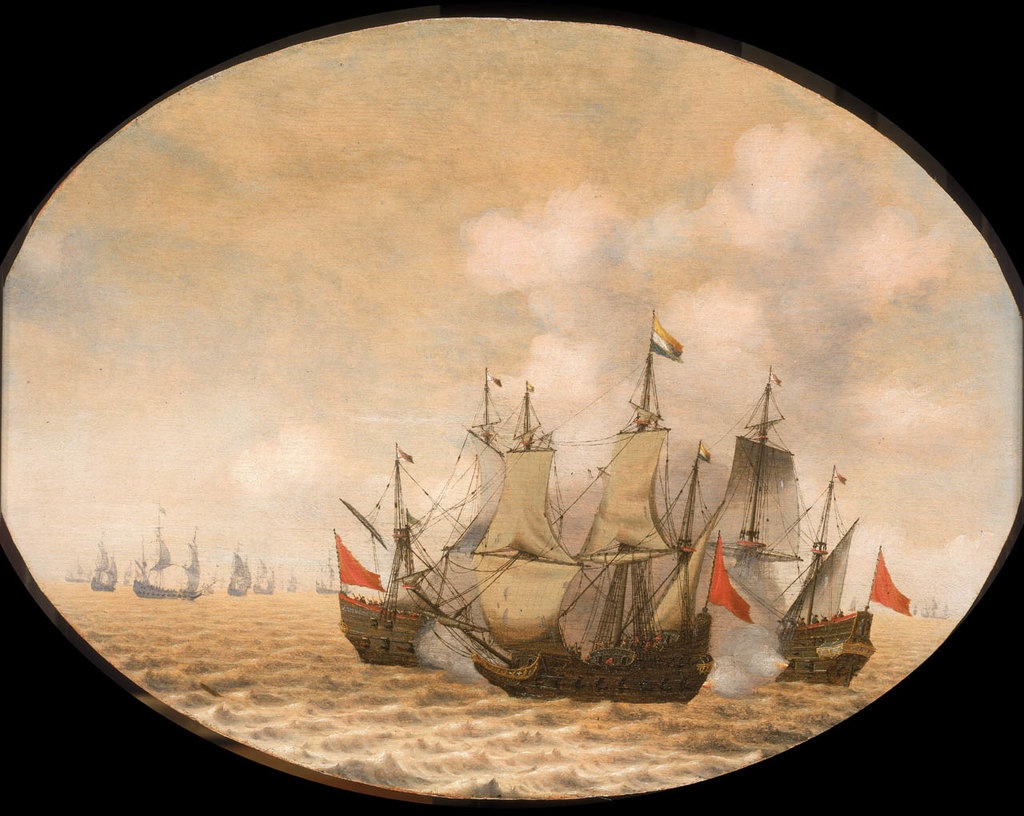 Detail of A Dutch ship engaged with two Spanish ships by Pieter Cornelisz van Soest
