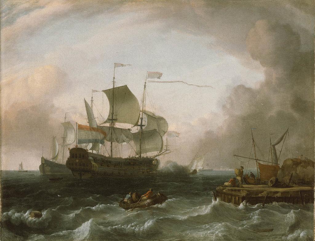 Detail of Dutch men-of-war off a jetty by Jan Claesz Rietschoof