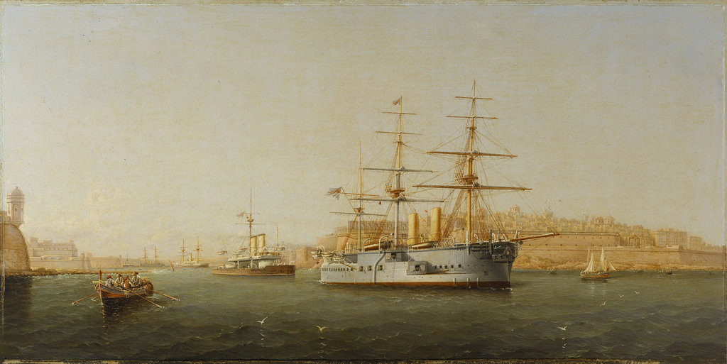 Detail of HMS 'Alexandra' leaving Malta by G. Gianni