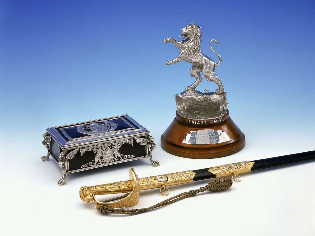Detail of Casket, statuette and sword by Mappin & Webb