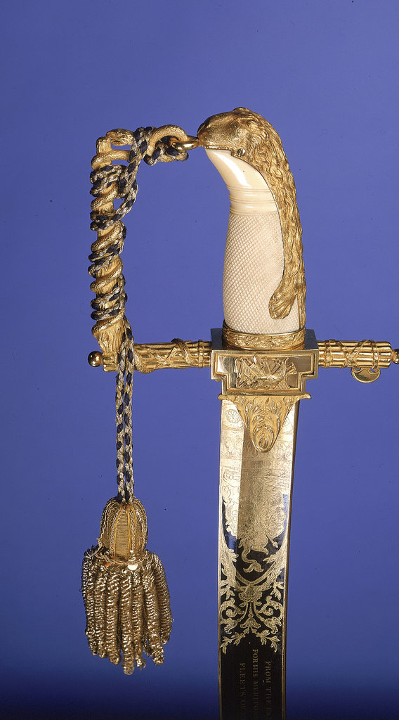 Detail of Presentation sword, hilt detail by R. Teed
