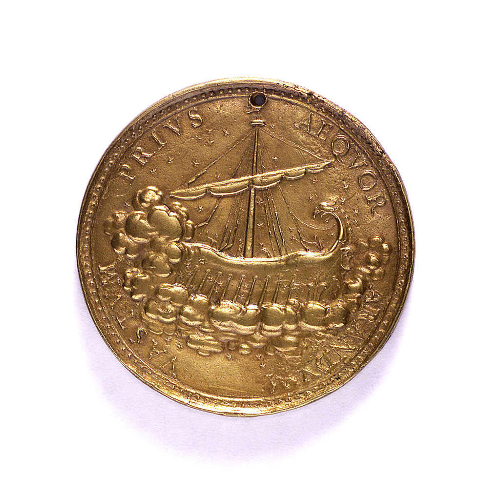 Detail of Medal commemorating Admiral Cardinal Medici; reverse by G.F. Travani
