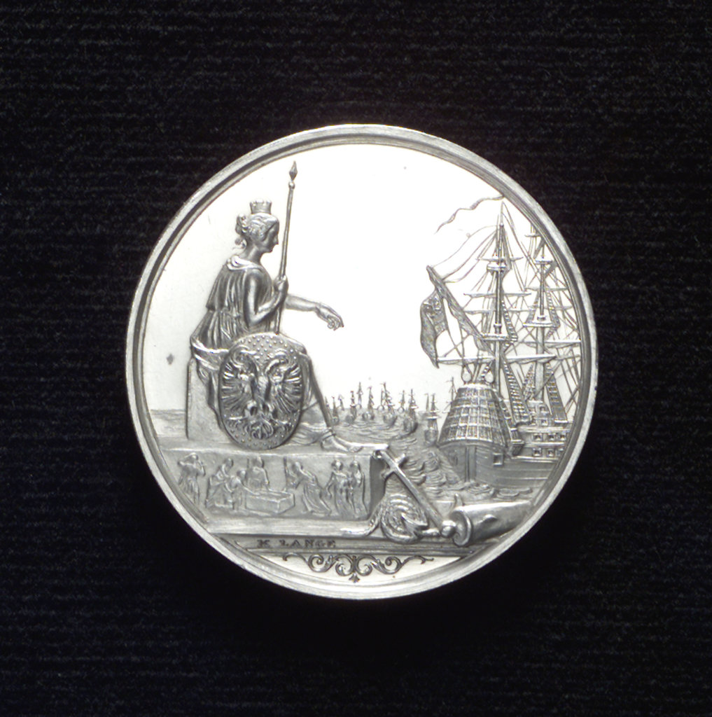 Detail of Medal commemorating the German Fleet founded, 1848; obverse by K. Lange