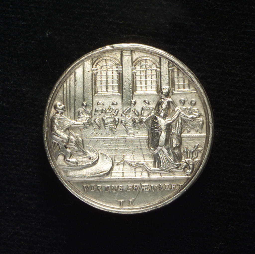 Detail of Medal commemorating Admiral Keppel acquitted, 1779; reverse by T. Lyng