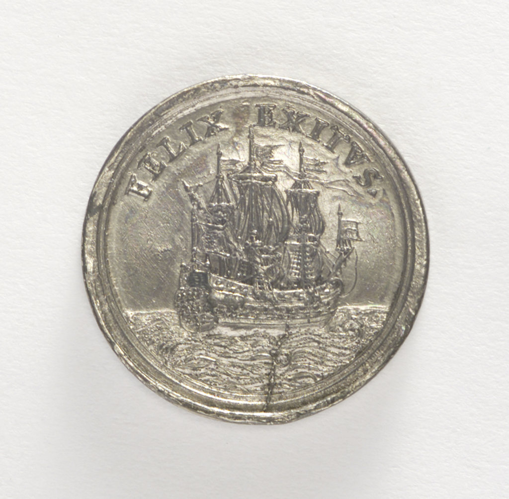 Detail of Counter commemorating the arrival of King Charles III in Portugal, 1703; obverse by C. Wermuth