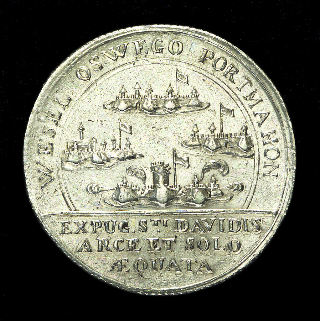 Detail of Counter commemorating the Wesel, Oswego, Port Mahon and St David captured, 1758; reverse by unknown