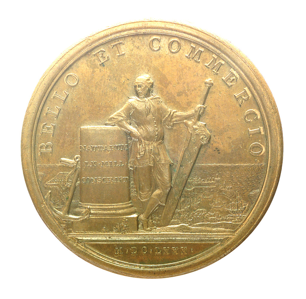 Detail of Medal commemorating the enrollment of sixty thousand seamen; reverse by J. Mauger