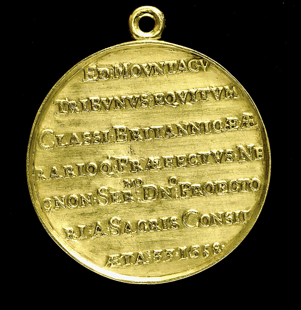 Detail of Medal commemorating Admiral Edward Montagu, 1st Earl of Sandwich (1625-1672); reverse by T. Simon