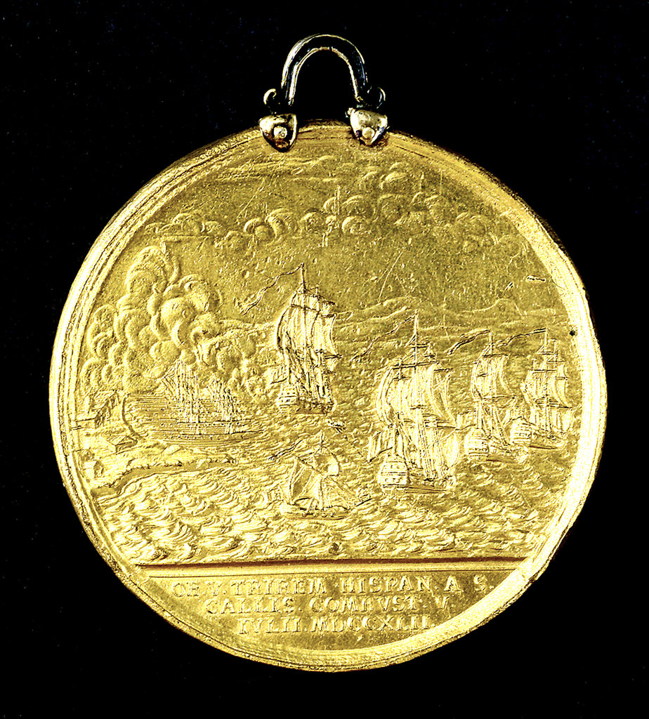Detail of Medal commemorating the Spanish galleys destroyed, 1742; reverse by Thomas Pingo