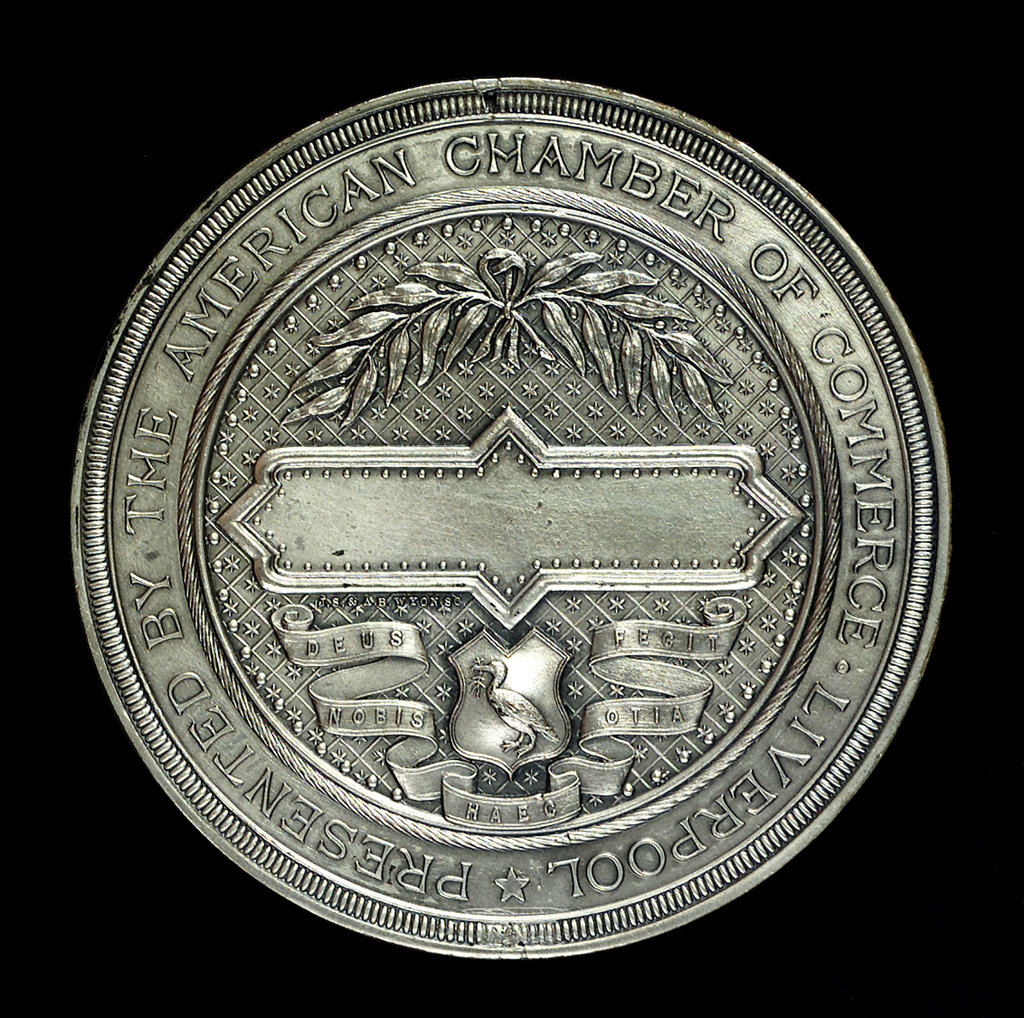 Detail of Medal commemorating laying of the Atlantic cable, 1866; reverse by J.S.