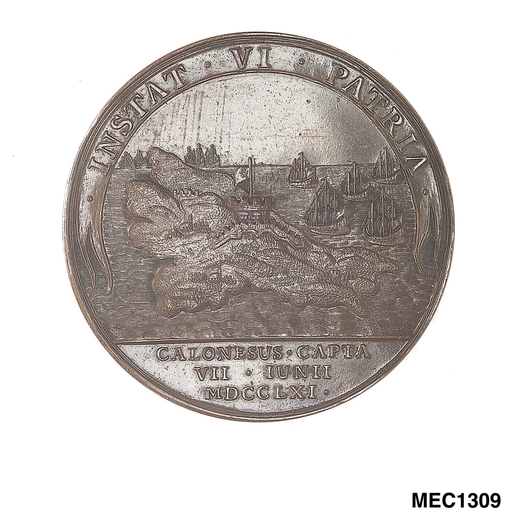 Detail of Medal commemorating the capture of Belle Isle, 1761 by unknown