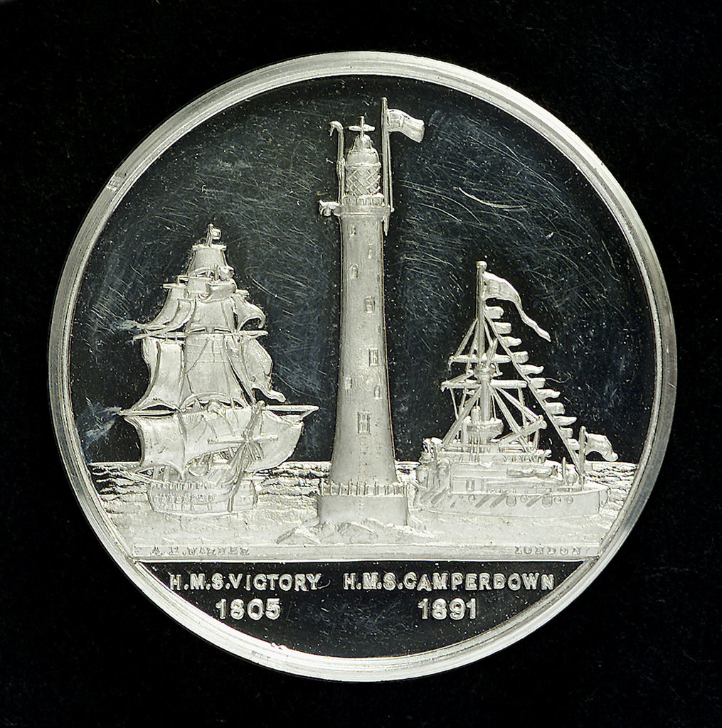 Detail of Medal commemorating The Royal Naval Exhibition, 1891; obverse by A.E. Warner