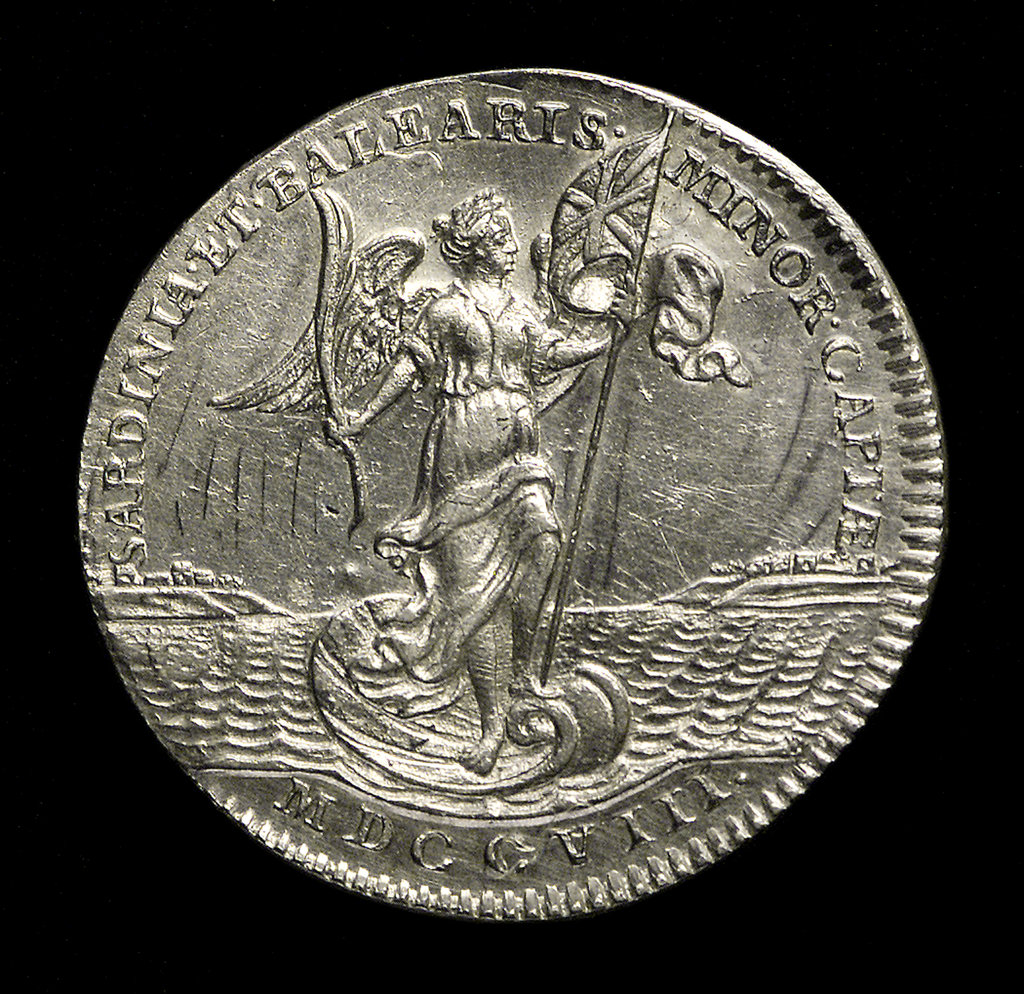 Detail of Counter commemorating the capture of Sardinia and Minorca, 1708; reverse by unknown