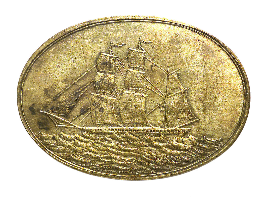 Detail of Counter commemorating the Liverpool International Shipwrights' Friendly Society; obverse by unknown
