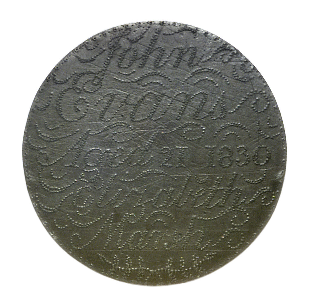 Detail of Engraved copper commemorative coin; reverse by unknown
