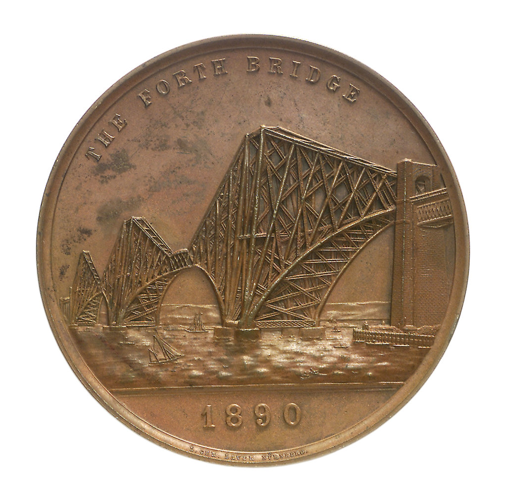 Detail of Medal commemorating the opening of the Forth Bridge, 1890; obverse by Lauer Bros.