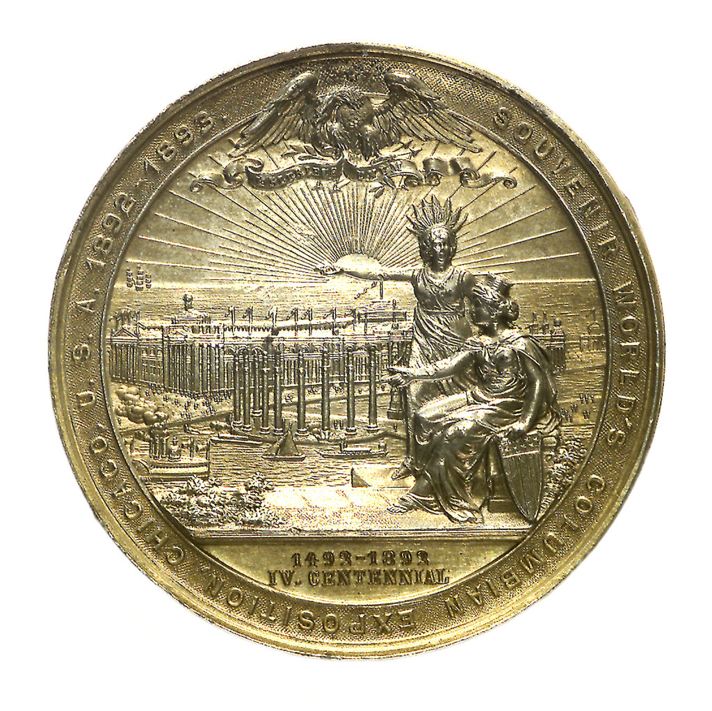 Detail of Medal commemorating the Columbian Exposition, 1892; reverse by M. Mayer