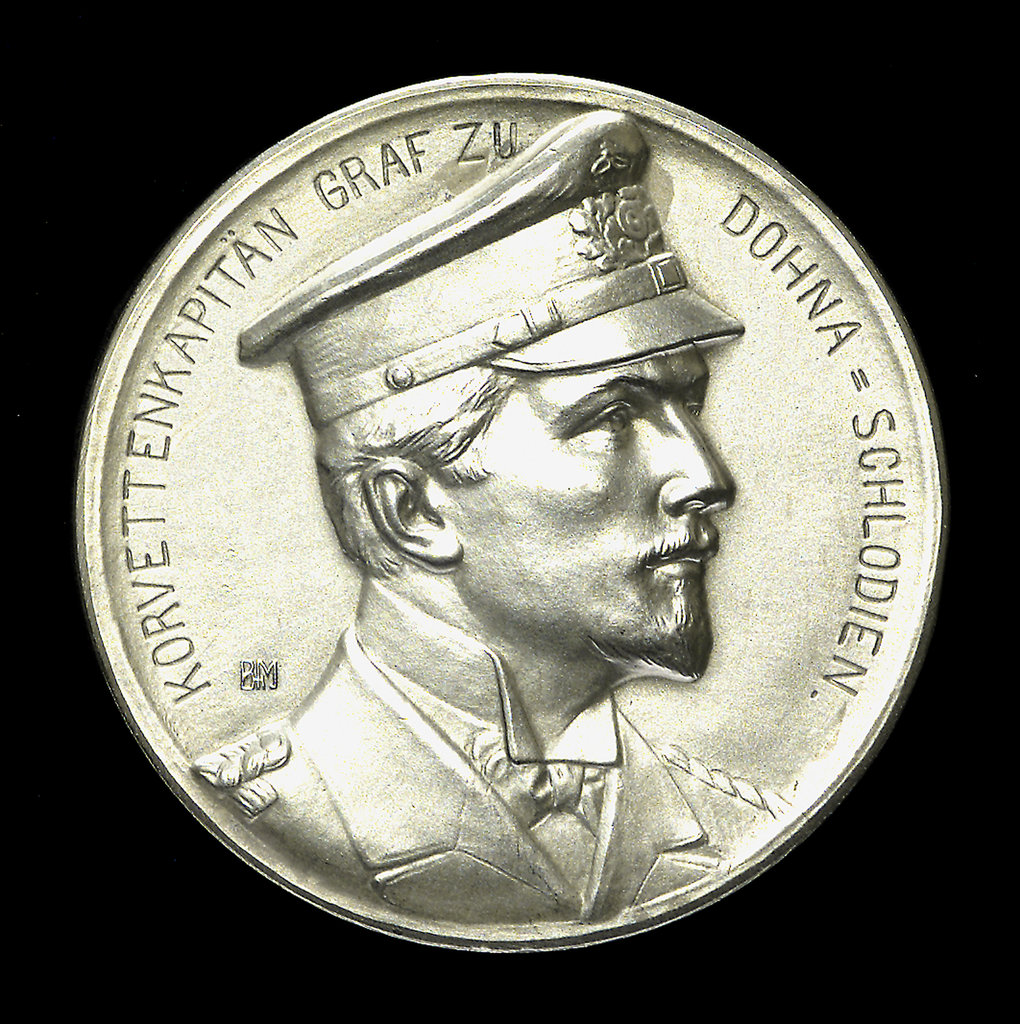 Detail of Medal commemorating Captain Count Dohna-Schlodien of SMS 'Moewe'; obverse by B.H. Mayer