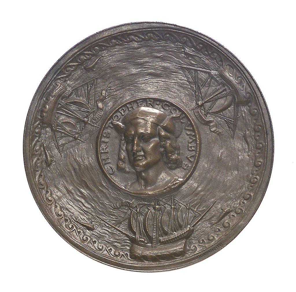 Detail of Medal commemorating Christopher Columbus (1451-1506) and the discovery of America, 1492; obverse by G.F. Naegele
