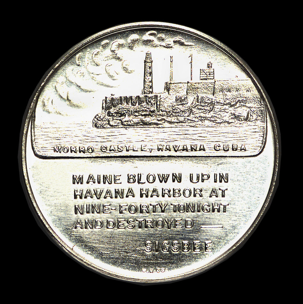 Detail of Medal commemorating the 50th anniversary of the destruction of the battleship Maine, 1948; reverse by W. & H. Co.