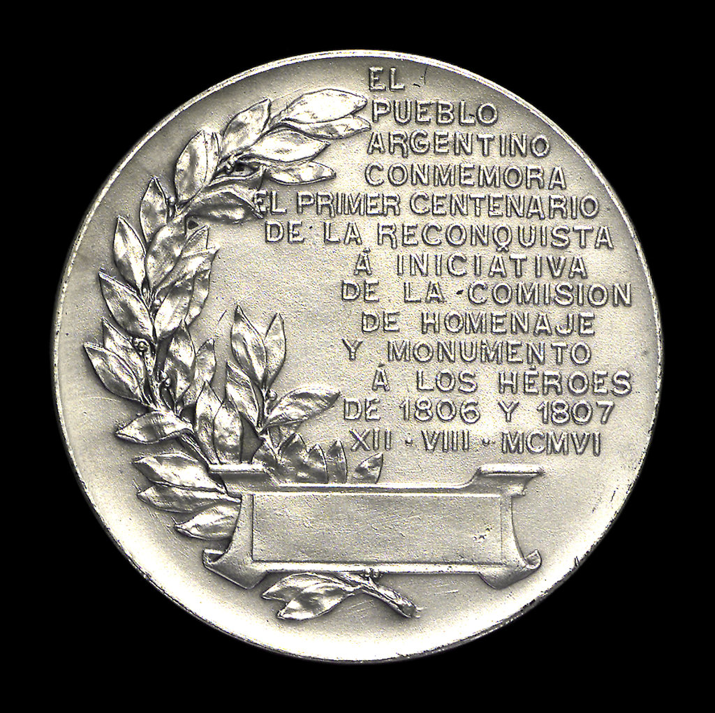 Detail of Medal commemorating the reconquest of Argentina, 1807; reverse by Rossi Bellagamba