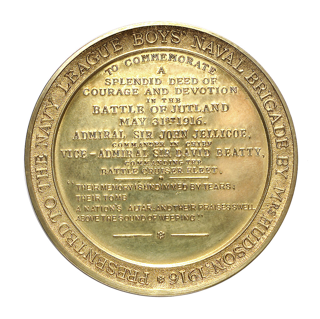 Detail of Medal commemorating John Travers Cornwell VC (1900-1916) and the Battle of Jutland, 1916; reverse by Spink & Son Ltd.
