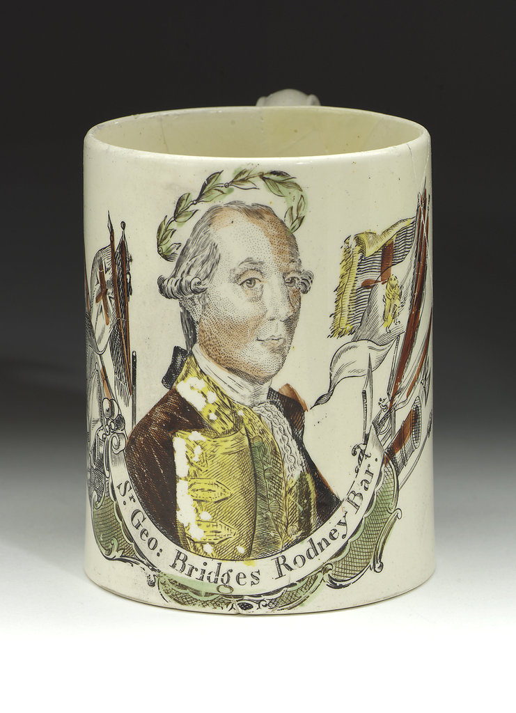 Detail of Mug with a portrait of Admiral Sir George Brydges Rodney (1719-1792) by unknown