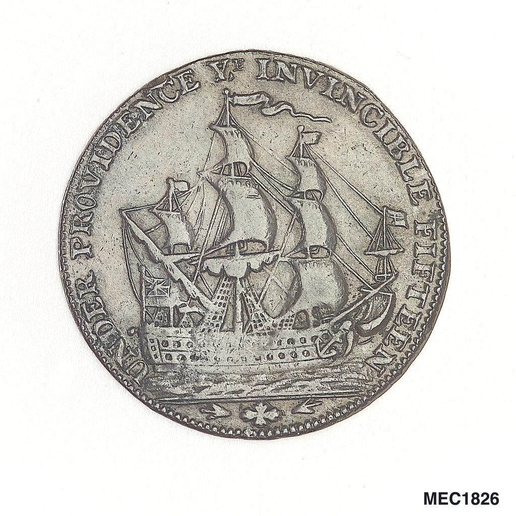 Detail of Portsmouth halfpenny token commemorating John Jervis, Earl St Vincent (1735-1823) and the battle of Cape St Vincent, 1797 by J. Pitt