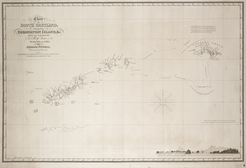 Detail of Chart of South Shetland including Coronation Island, from the exploration of the sloop Dove in the years 1821 and 1822 by George Powell Commander of the same by George Powell
