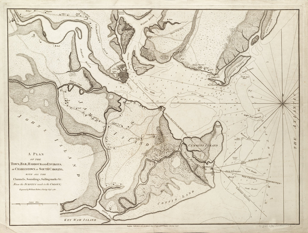 Detail of Plan of Charlestown, South Carolina, 1780 by William Faden