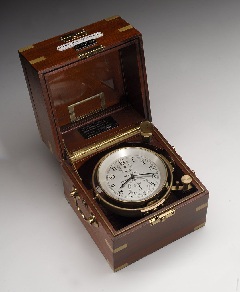 Detail of Marine chronometer in case by Hamilton Watch Co.