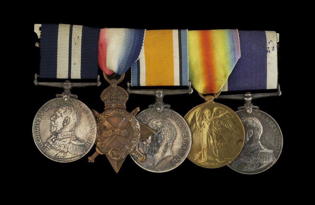 Detail of Medals awarded to Able Seaman R. J. Squires DSM (obverse, l to r, MED2591-2595) by B. Mackennal