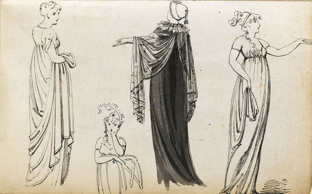 Detail of Three full-length figures of an elegant woman or women and a seated woman (verso) by Thomas Baxter