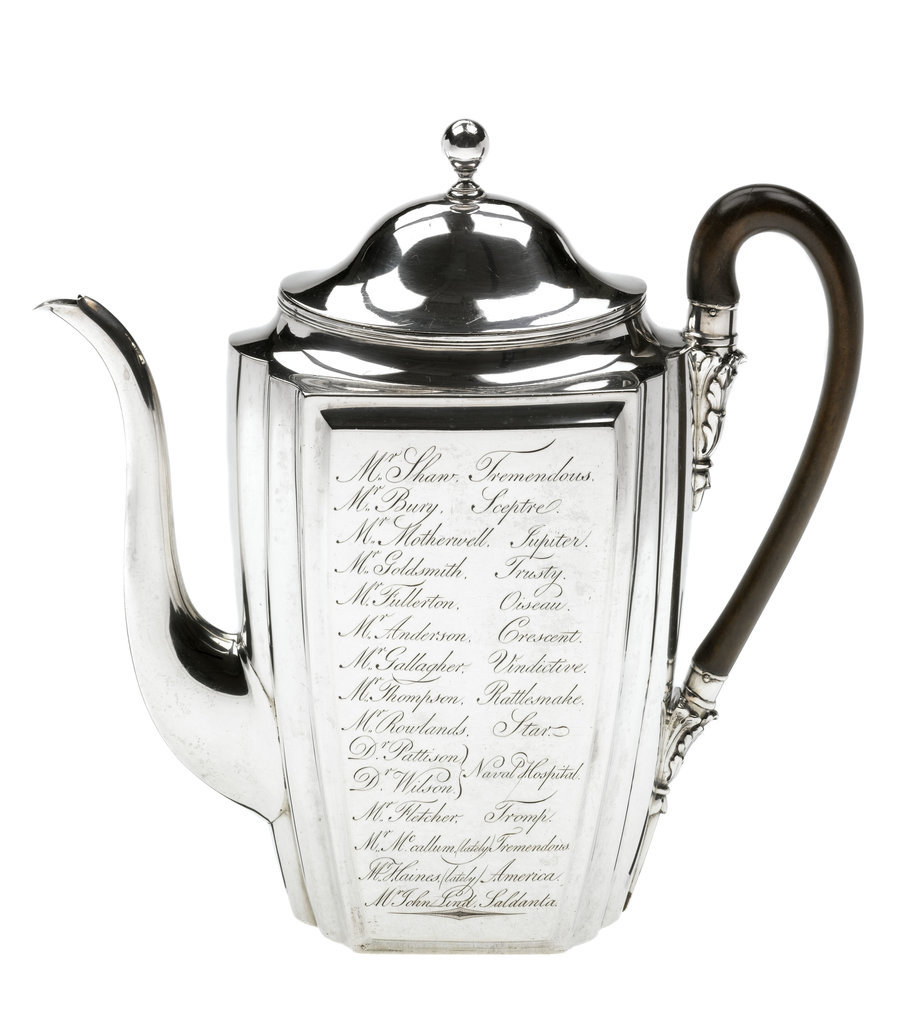 Detail of Silver coffee pot presented to the naval physician Dr Thomas Trotter (1760-1832) by Henry Chawner