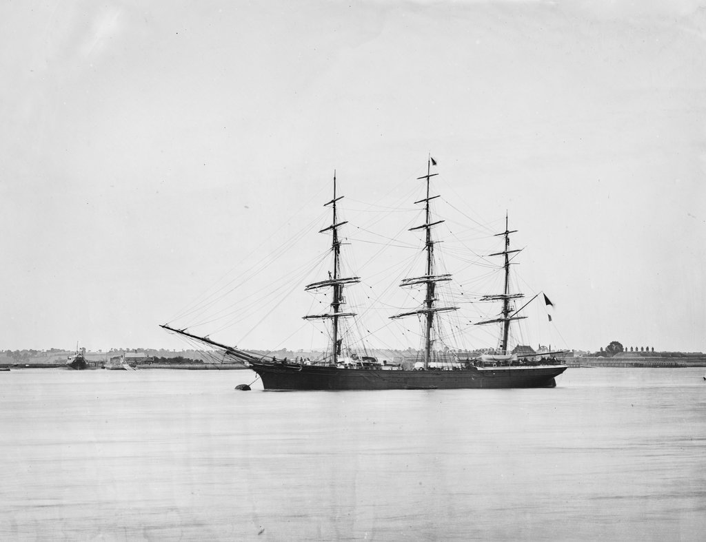 Detail of Photograph of a 3 masted ship 'Saint Leonards' (1864) 21st June 1872, off Tilbury, River Thames by unknown