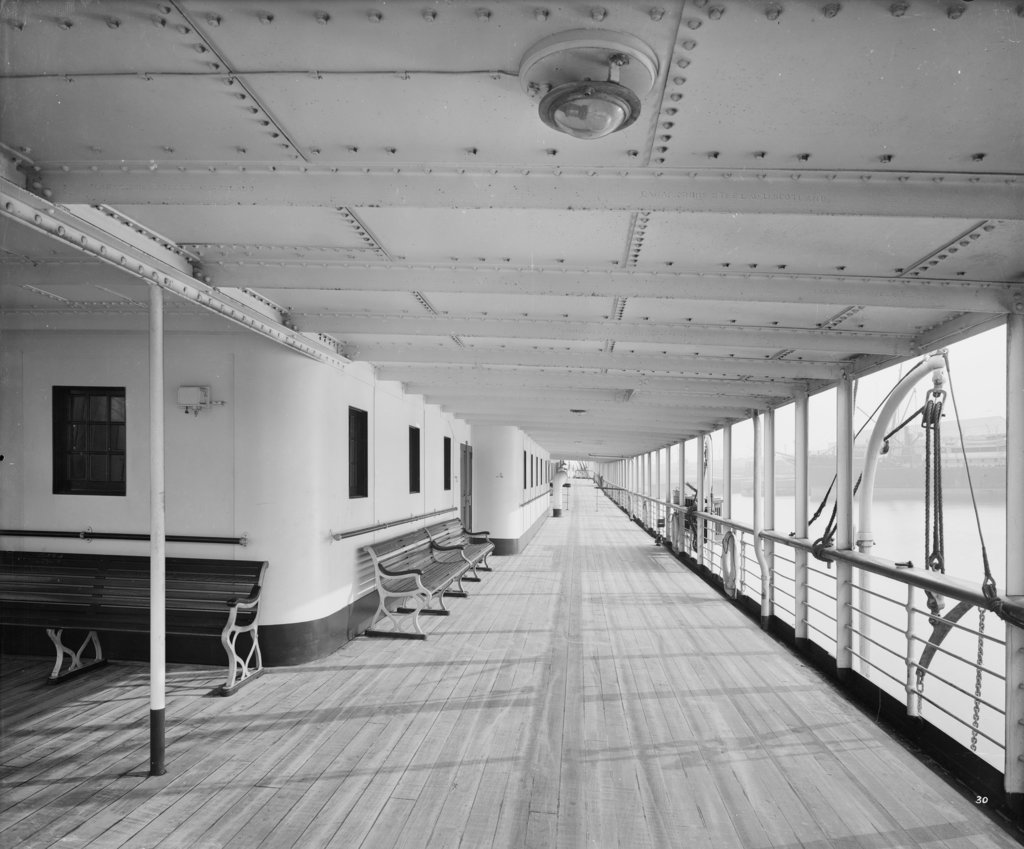 Detail of Promenade Deck on the 'Balmoral Castle' (1910) by Bedford Lemere & Co.