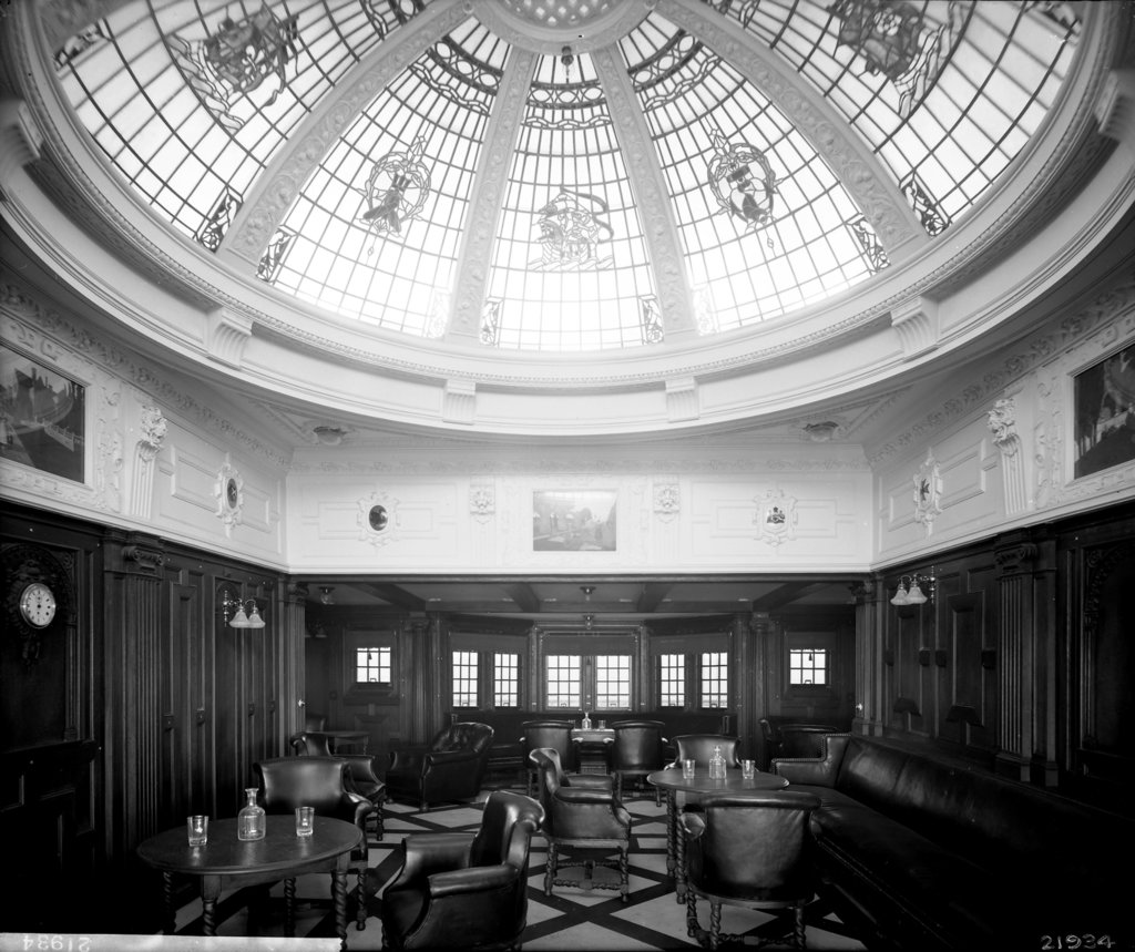 Detail of First Class Smoking Room on the 'Indarra' (1912) by Bedford Lemere & Co.