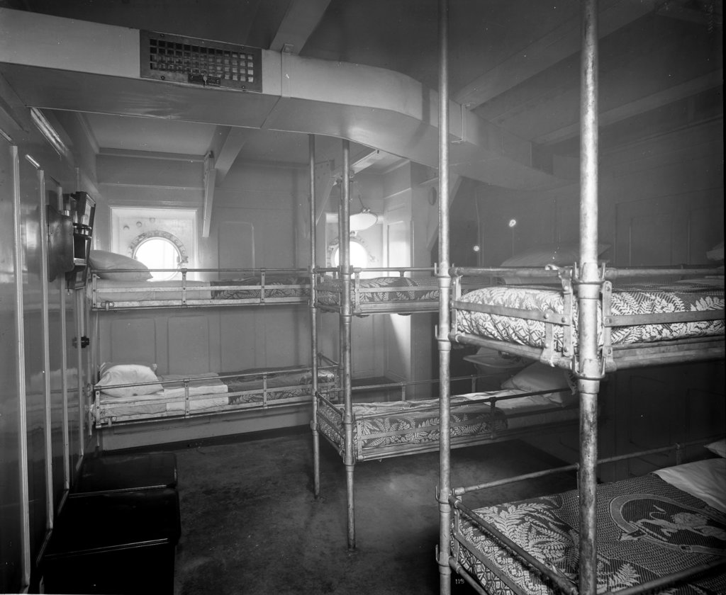 Detail of Men's Ward on the 'Aquitania' (1914) by Bedford Lemere & Co.