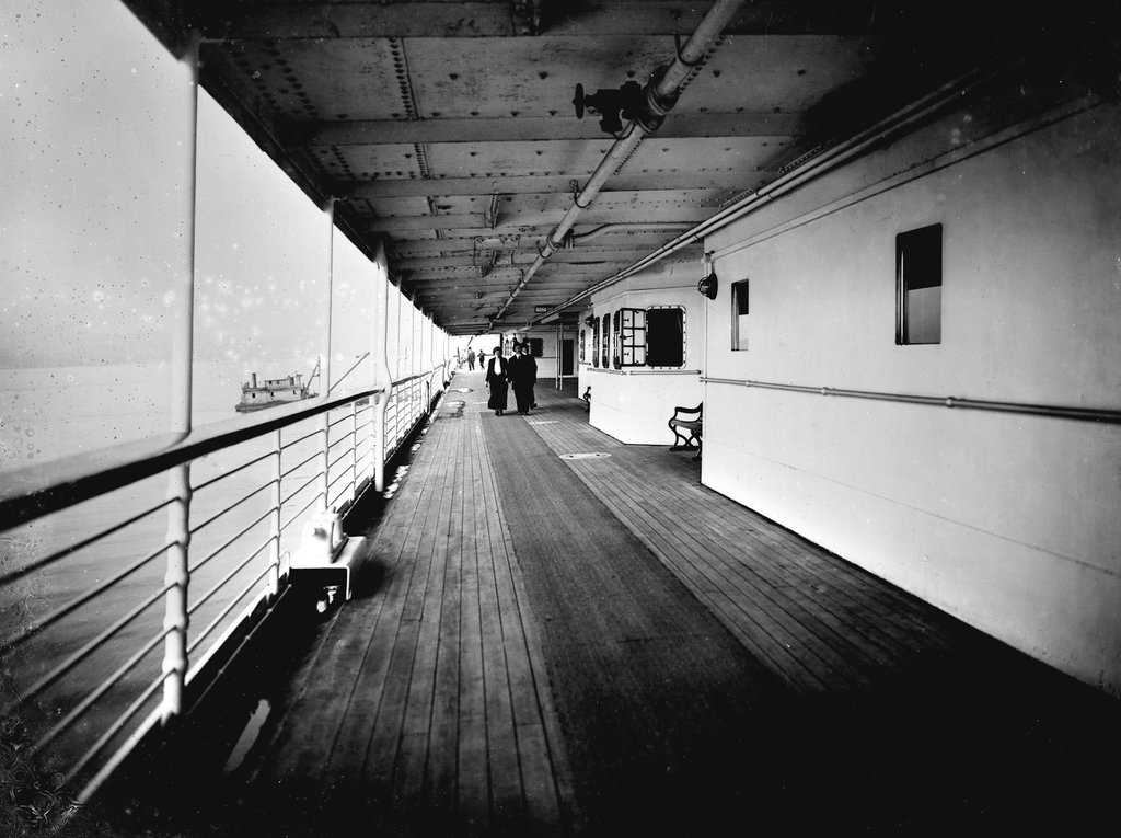 Detail of Promenade Deck on the 'Niagara' (1913) by Bedford Lemere & Co.