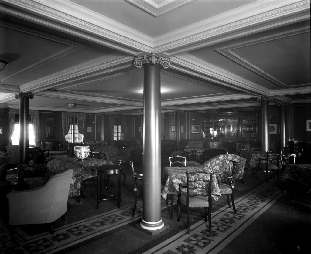 Detail of Cabin Class Lounge on the 'Melita' (1918) by Bedford Lemere & Co.