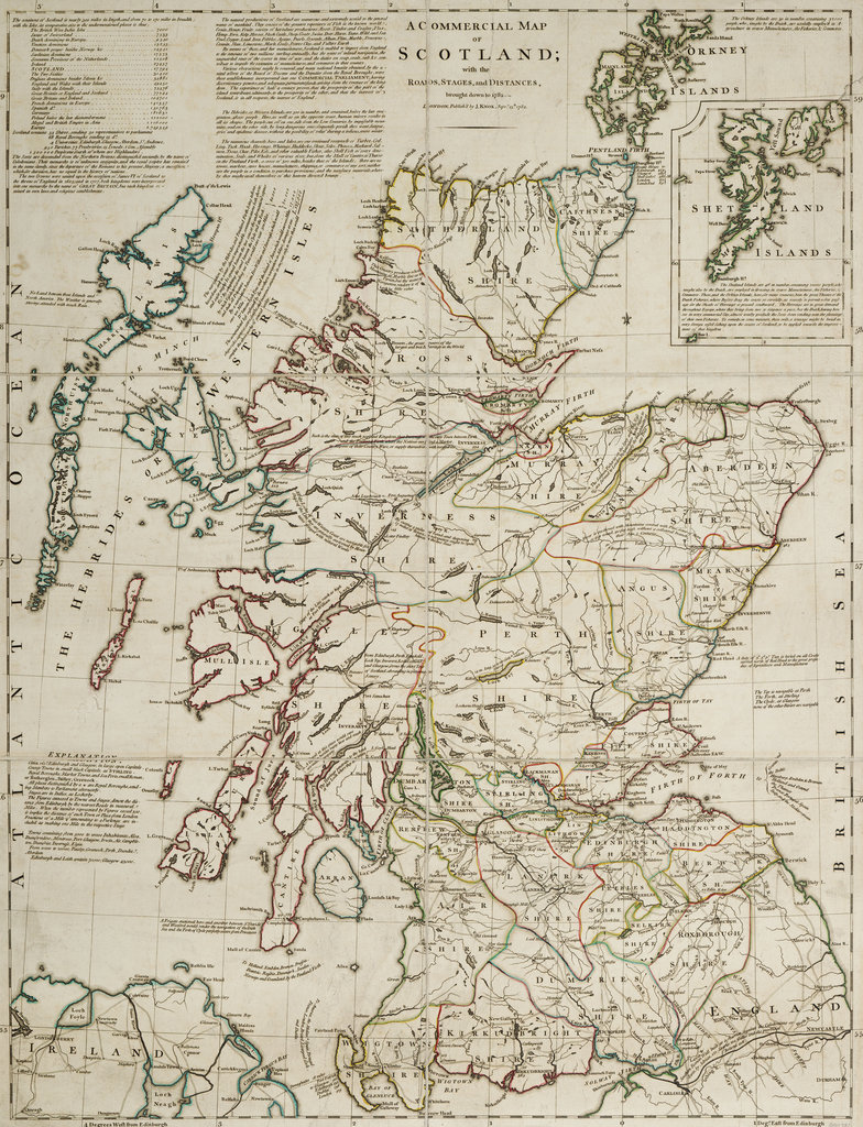 Detail of A commercial map of Scotland with the roads, stages and distances by J. Knox