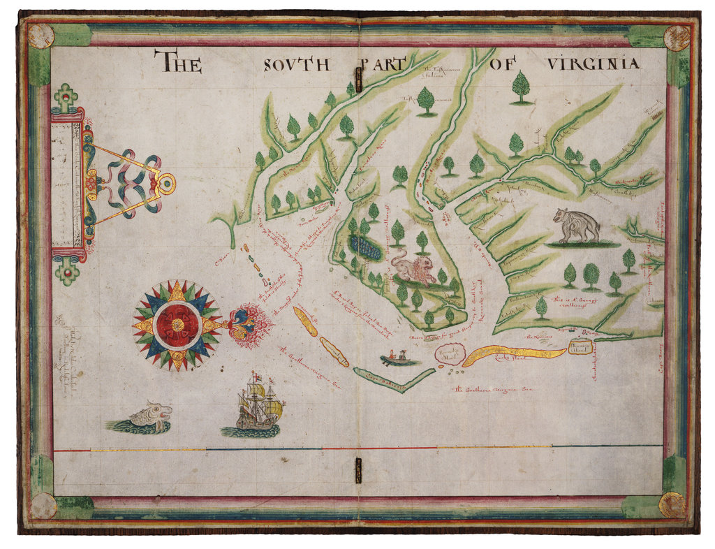 Detail of The south part of Virginia, 1657 by Nicholas Comberford