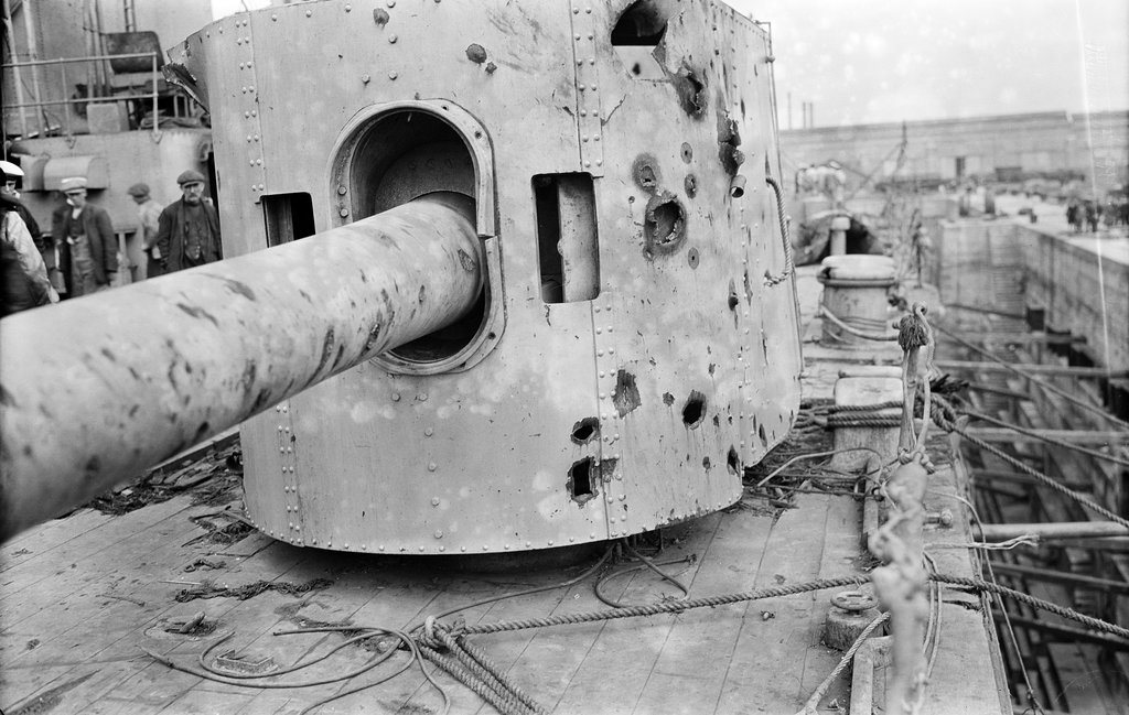Detail of HMS 'Warspite' (1913), battle damage by unknown