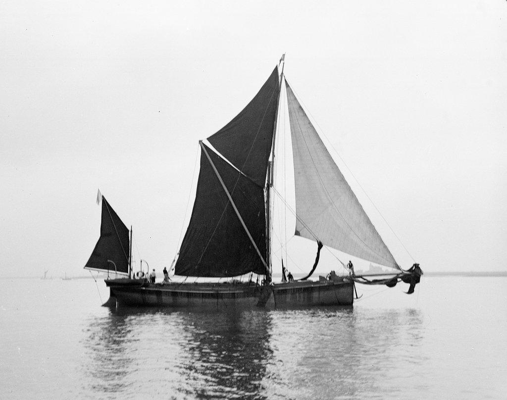 Detail of 'Phoenician' (Br, 1922) spritsail barge, under sail during Thamse barge race by unknown
