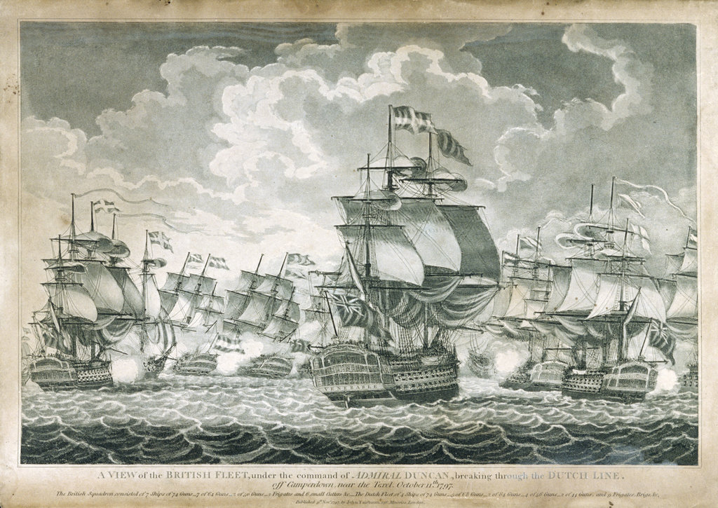 Detail of View of the British Fleet under the command of Admiral Duncan by John Fairburn