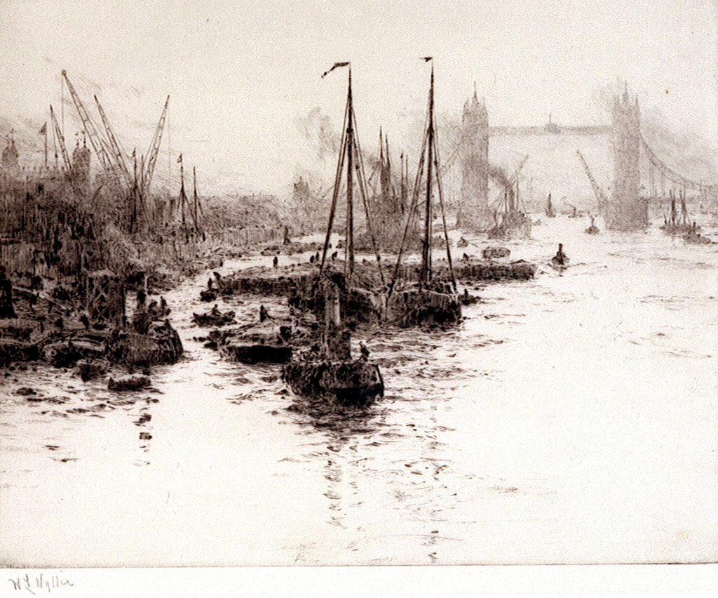 Detail of Eel boats off the Tower of London by William Lionel Wyllie