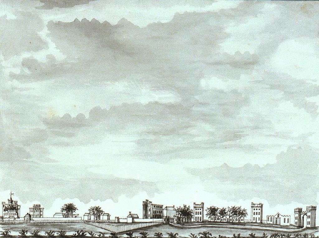 Detail of Wide view of Vanbrugh Castle, Vanbrugh House, Sherwood and Vanbrugh Gateway by John Charnock