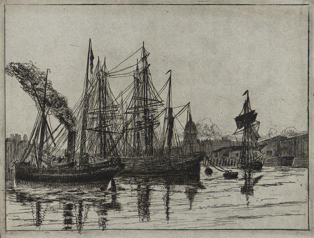 Detail of London Docks by William Booth-Pearsall