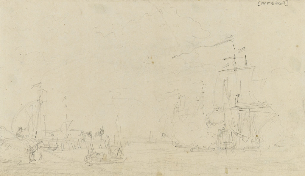 Detail of Sketch of a small sailing vessel saluting near the shore by Samuel Scott